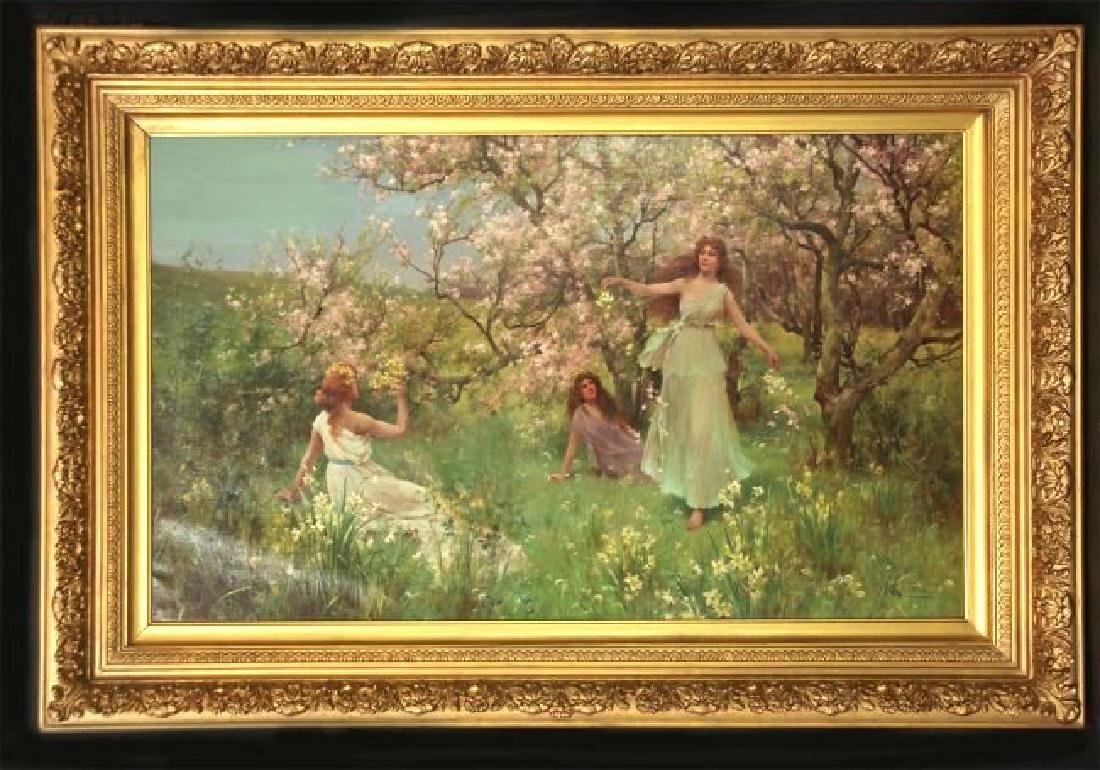 "A. E. Glendening Jr Oil on Canvas ""First Day of Spring"""