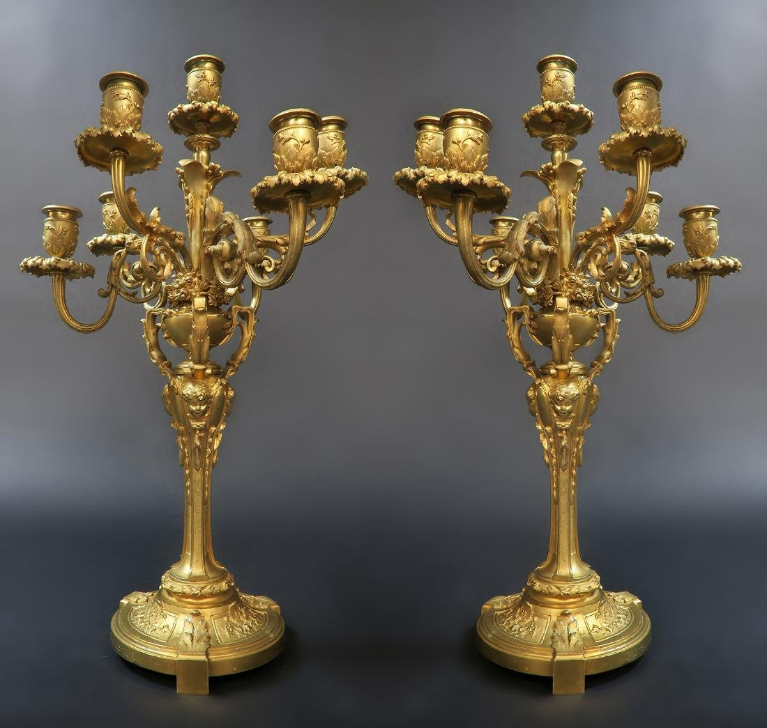 A Pair of French Figural Barbedienne Bronze Candelabras - 2
