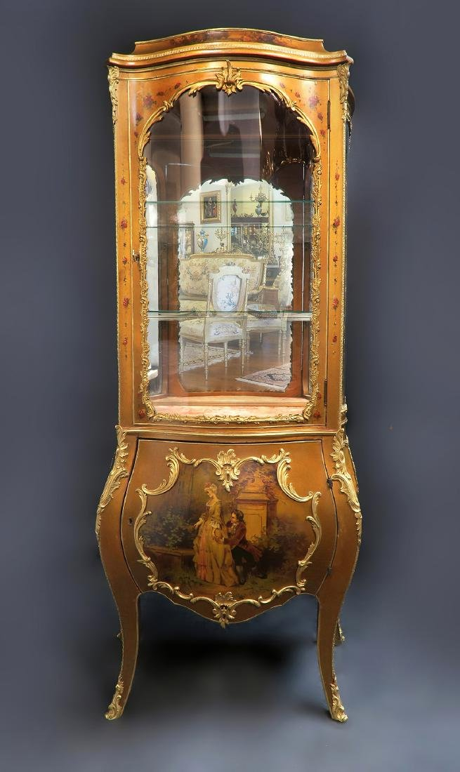 19th C. French Vernis Martin Vitrine Cabinet