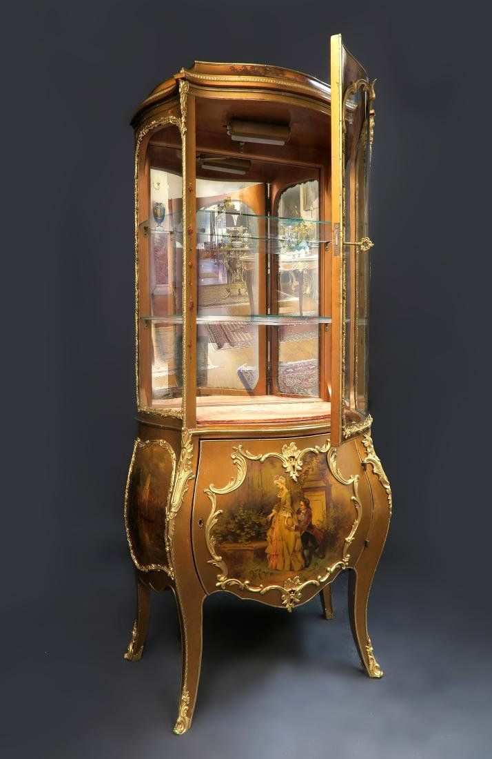19th C. French Vernis Martin Vitrine Cabinet - 2