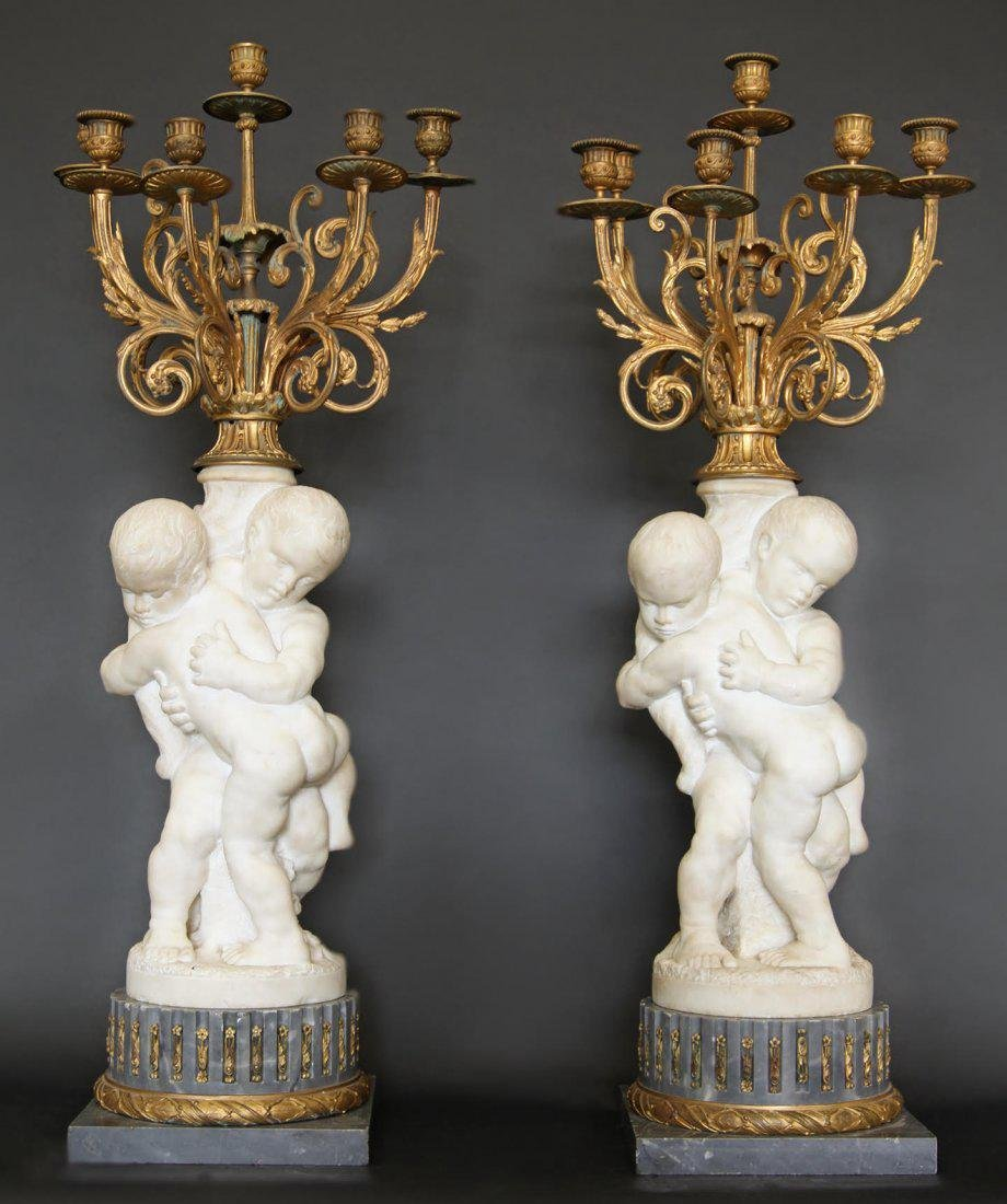 Monumental Pair of French Marble & Gilt Candelabras