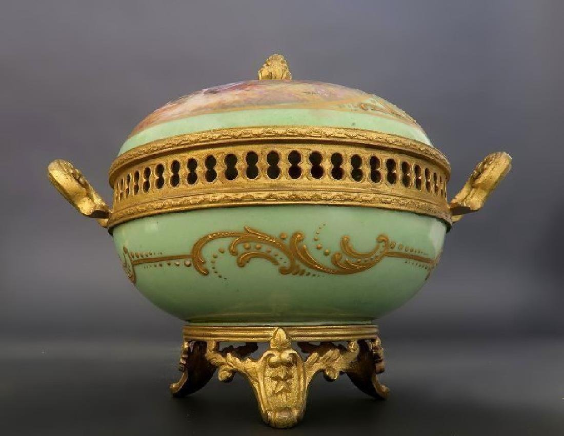 19th C. French Sevres Porcelain Gilt Bronze Spice Bowl - 2