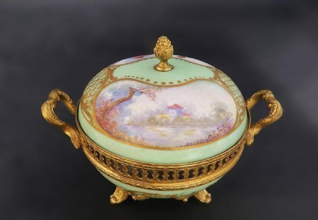 19th C. French Sevres Porcelain Gilt Bronze Spice Bowl - 3
