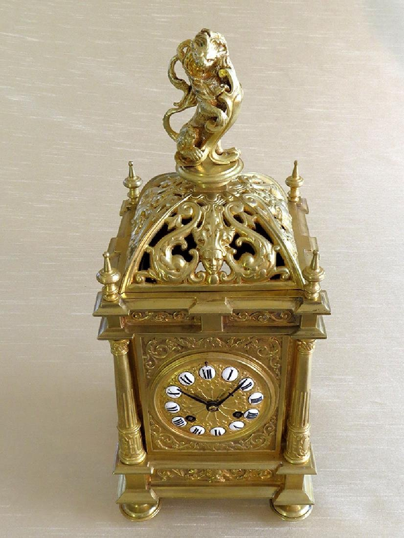 Antique Elegant Gilt Bronze French clock - 7