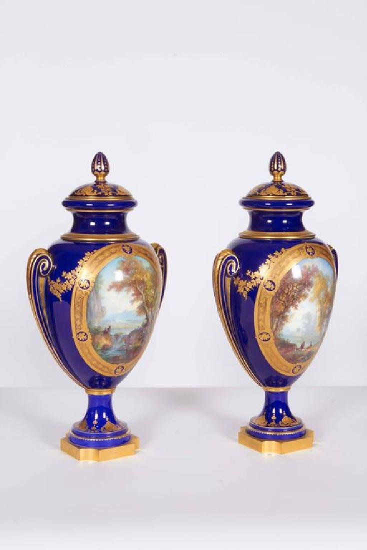 Pair of Napoleon III Sevres Cobalt Blue Vases on Ormolu - 2