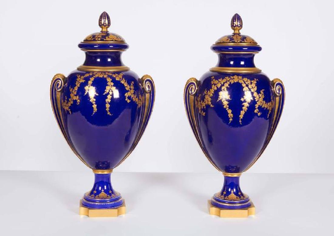 Pair of Napoleon III Sevres Cobalt Blue Vases on Ormolu - 3