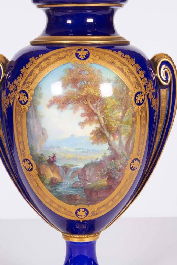 Pair of Napoleon III Sevres Cobalt Blue Vases on Ormolu - 4