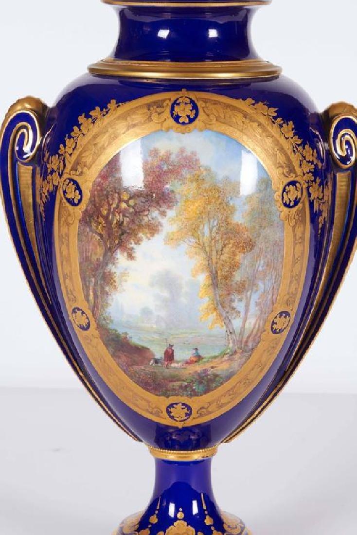 Pair of Napoleon III Sevres Cobalt Blue Vases on Ormolu - 5