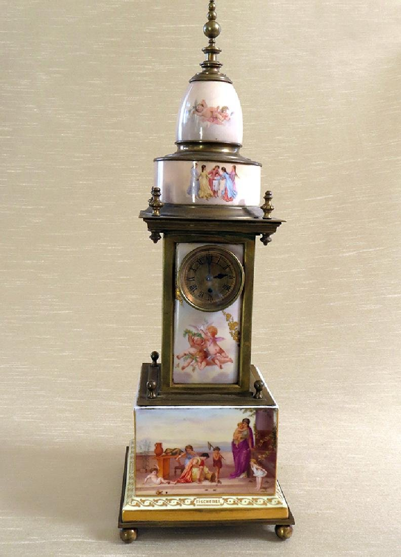 Magnificent 19th C. hand painted Royal Vienna Clock