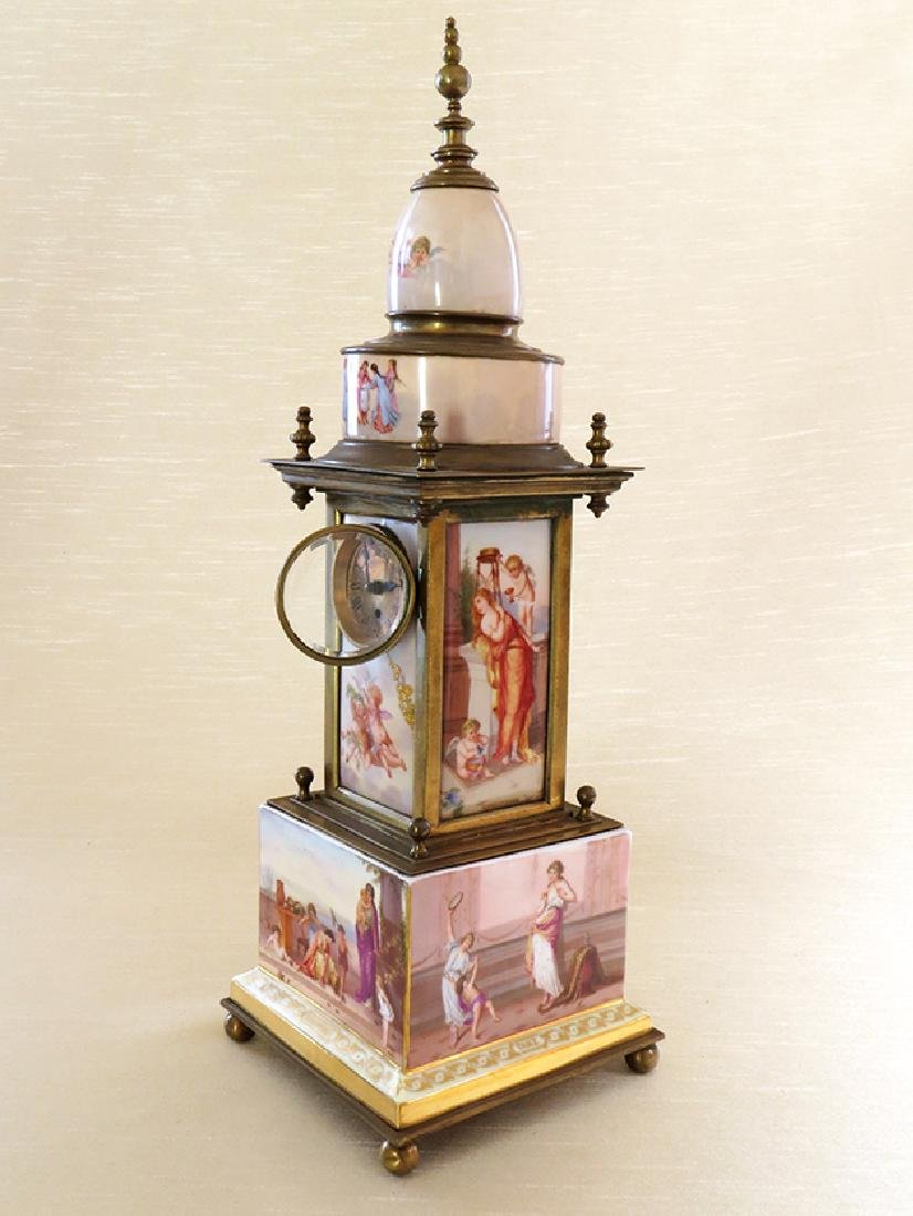Magnificent 19th C. hand painted Royal Vienna Clock - 3