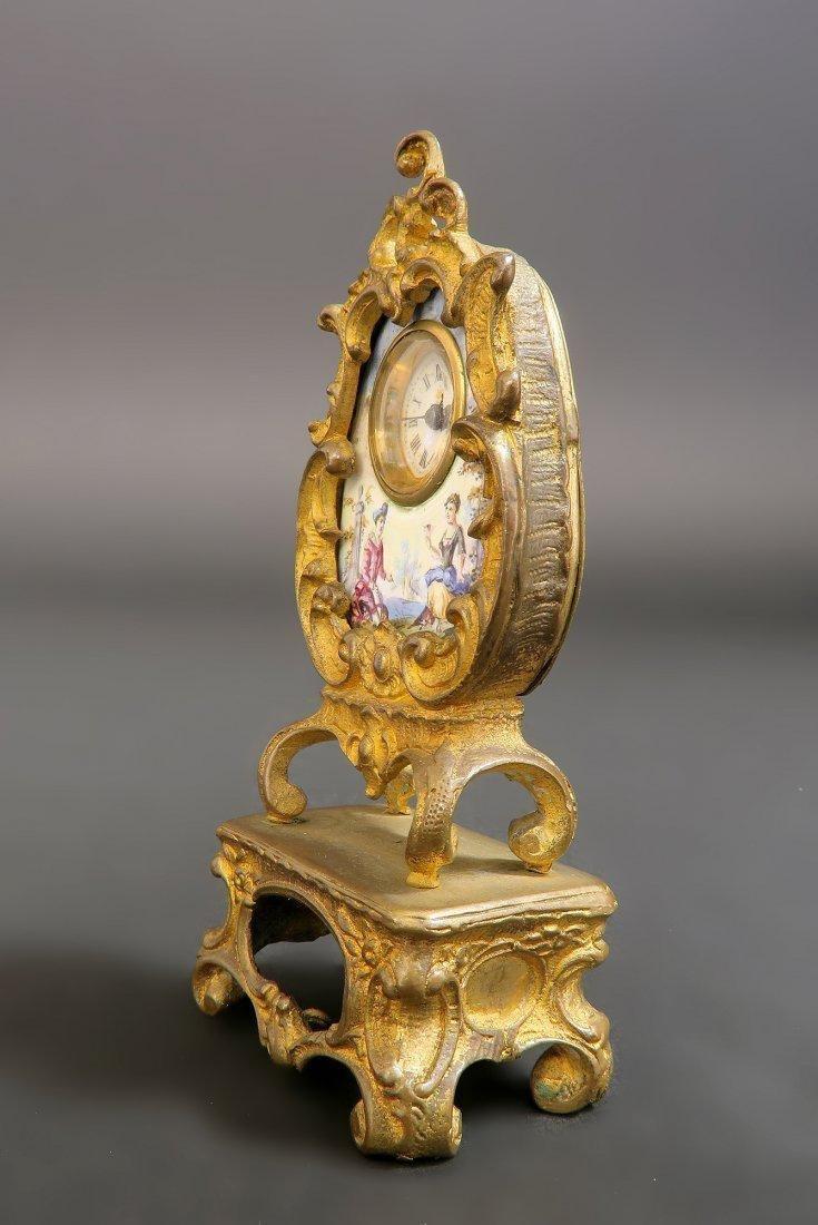 19th C. Viennese Enamel on Bronze Clock - 2