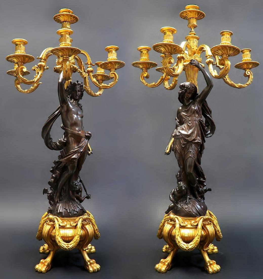 Monumental French Figural Bronze Clock Set - 2