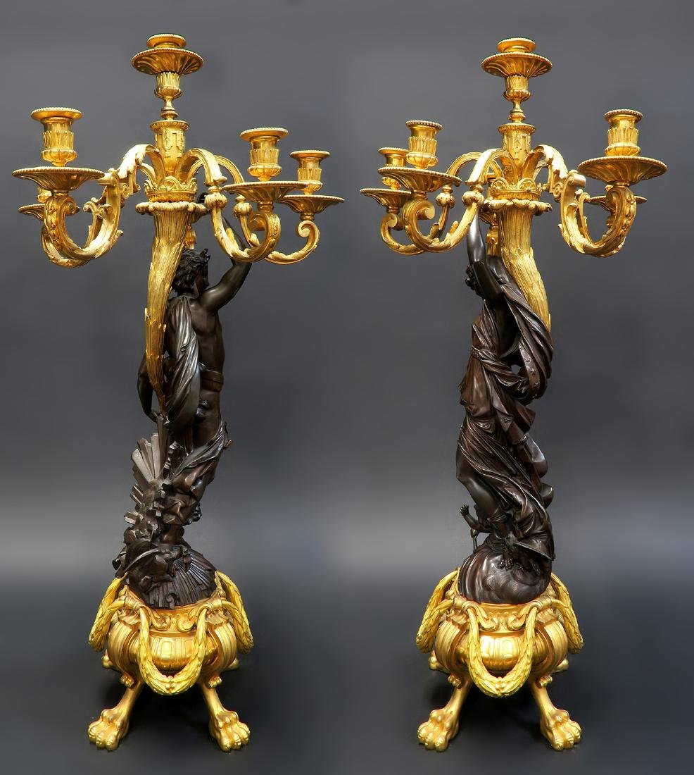 Monumental French Figural Bronze Clock Set - 3