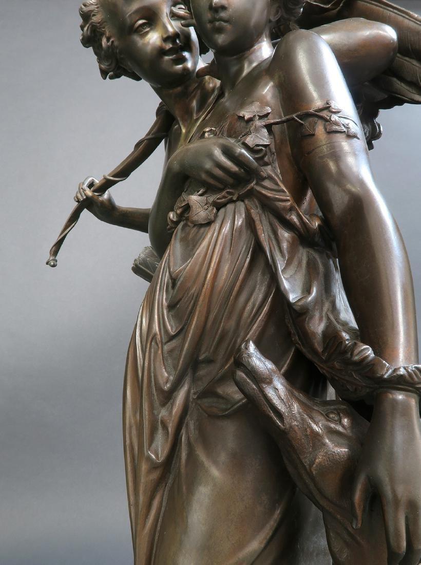 Monumental French Figural Bronze Clock Set - 8