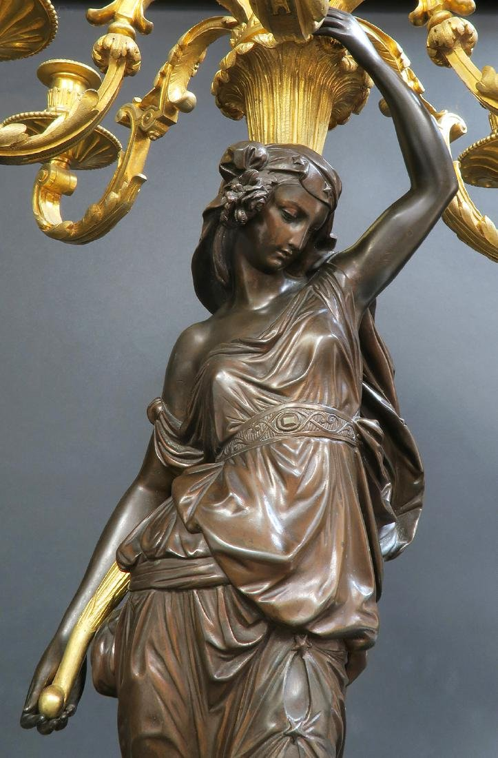 Monumental French Figural Bronze Clock Set - 9