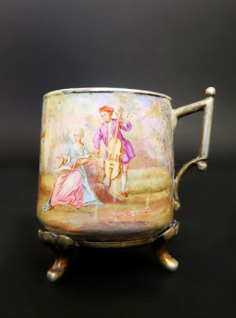 19th C. Viennese Enamel on Silver Cup & Saucer - 2