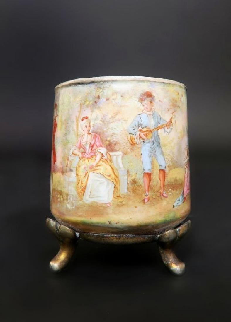 19th C. Viennese Enamel on Silver Cup & Saucer - 3