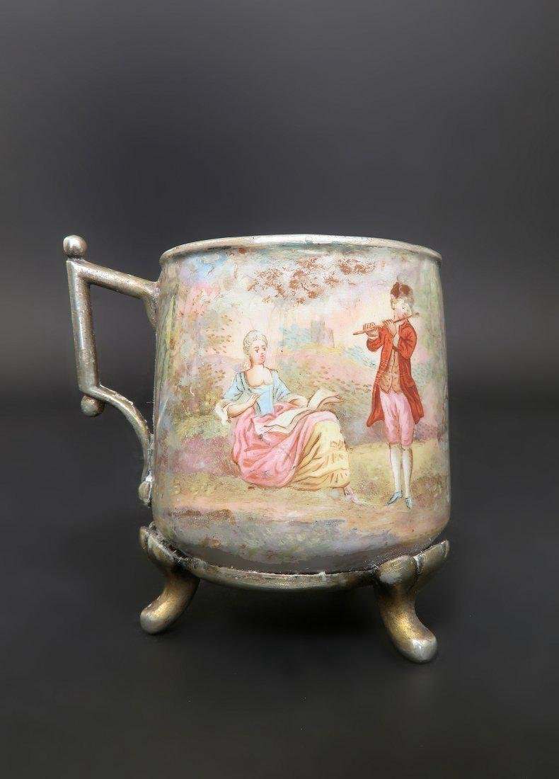 19th C. Viennese Enamel on Silver Cup & Saucer - 4