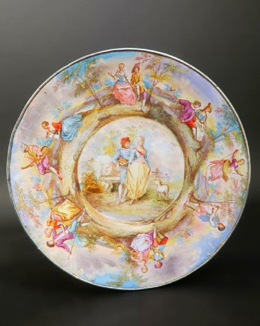 19th C. Viennese Enamel on Silver Cup & Saucer - 5