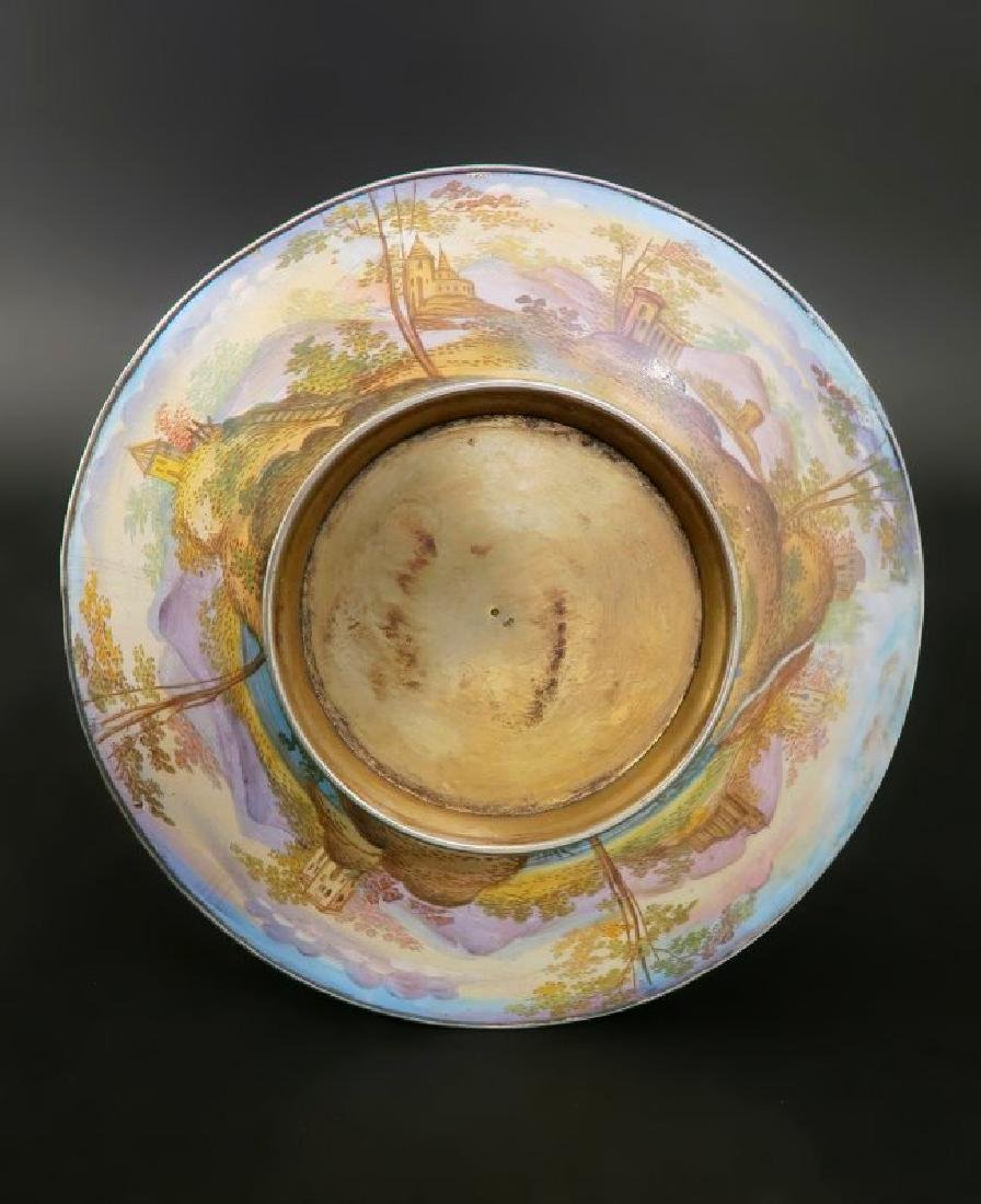 19th C. Viennese Enamel on Silver Cup & Saucer - 6