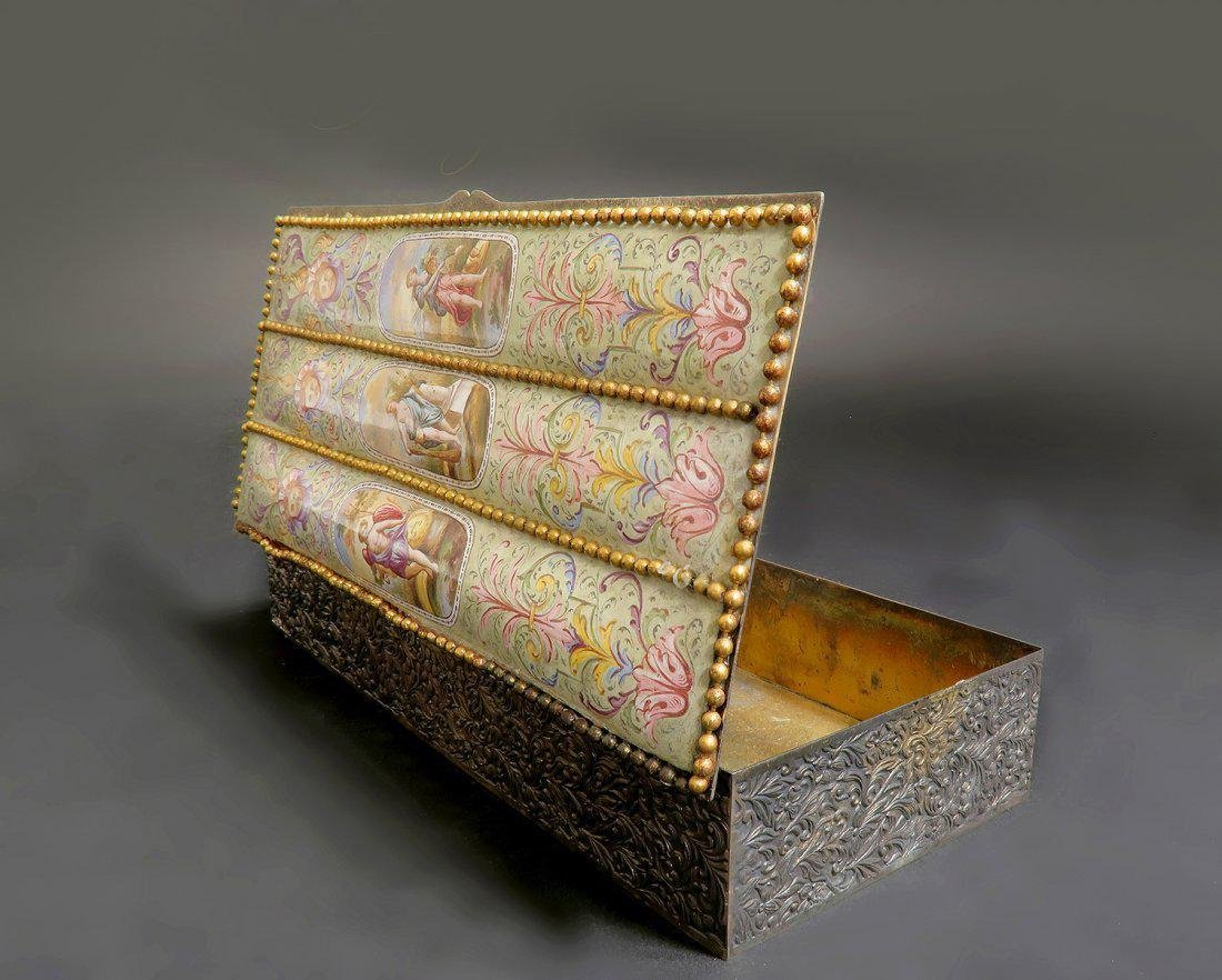 Large 19th. Viennese Enamel on Silver Jewelry Box