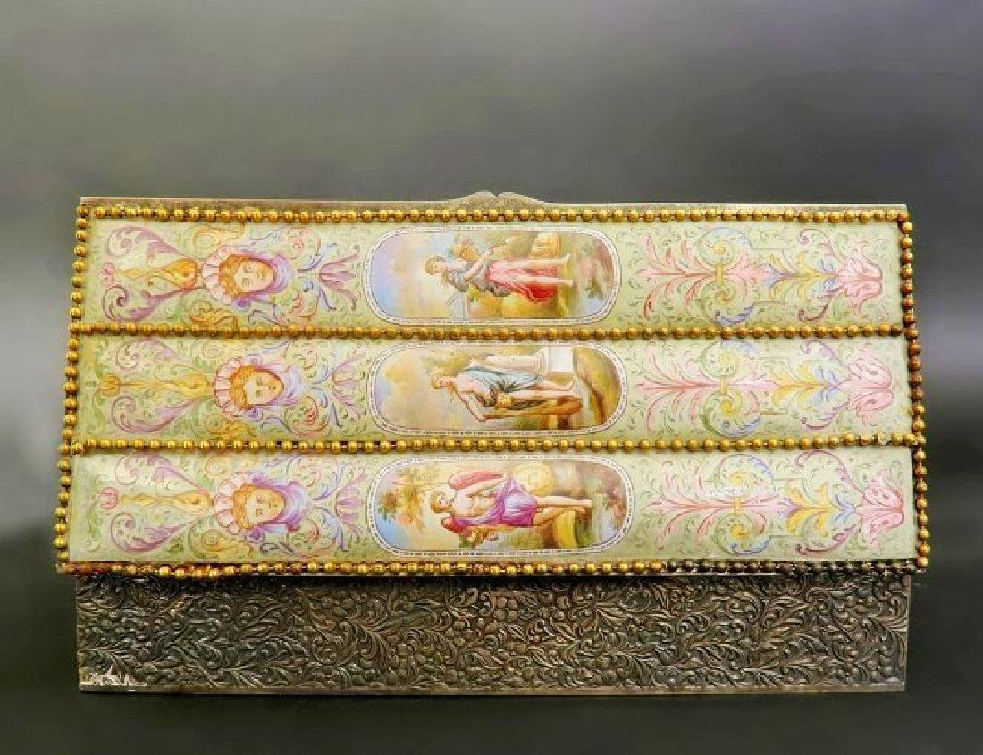 Large 19th. Viennese Enamel on Silver Jewelry Box - 2