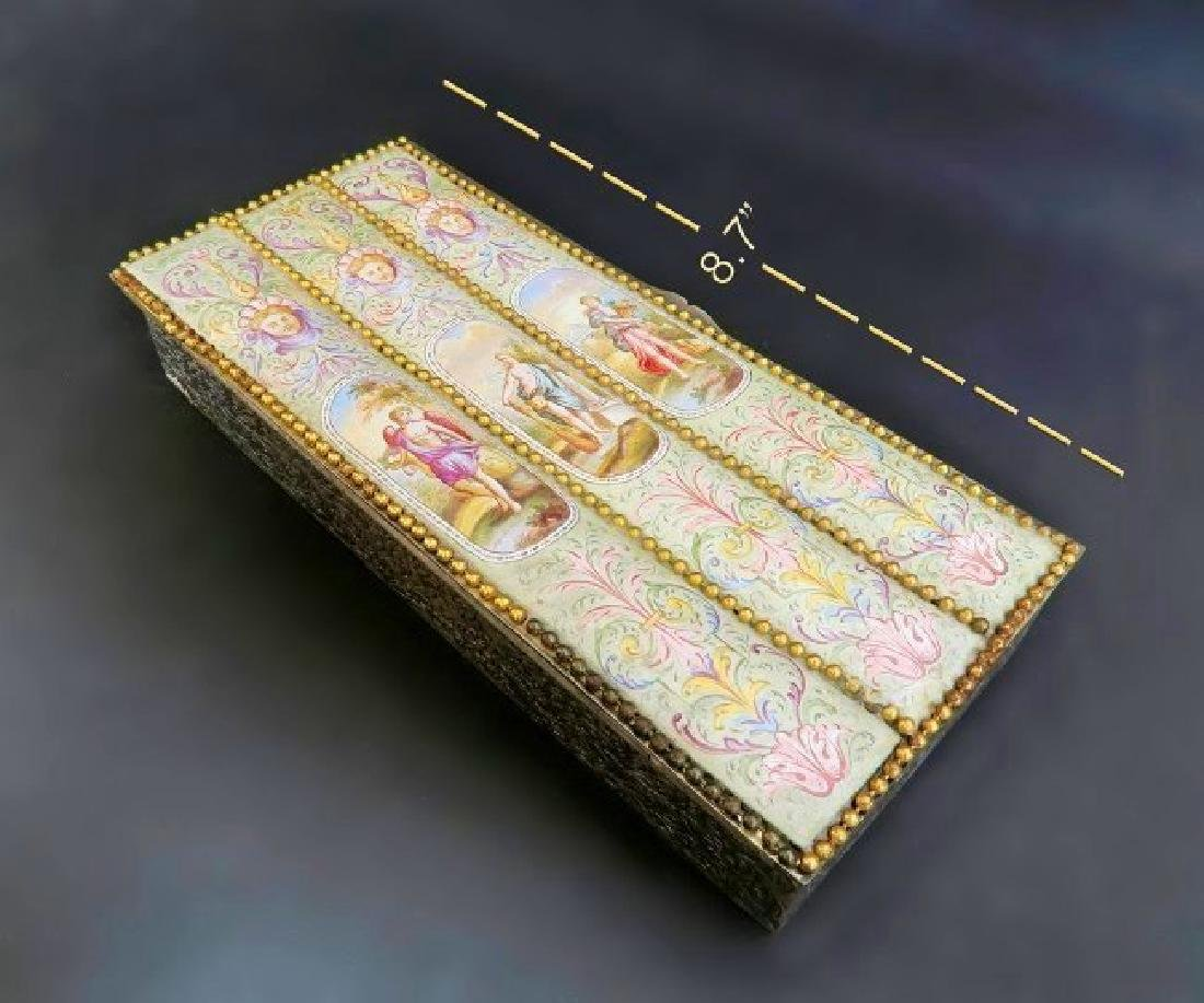 Large 19th. Viennese Enamel on Silver Jewelry Box - 3