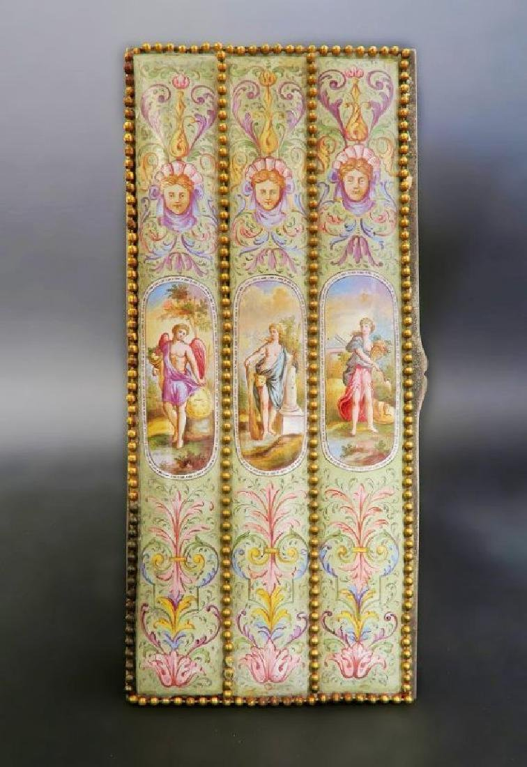 Large 19th. Viennese Enamel on Silver Jewelry Box - 4