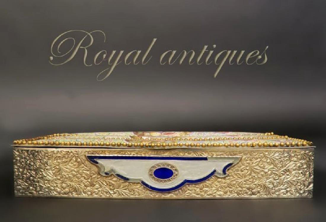 Large 19th. Viennese Enamel on Silver Jewelry Box - 5