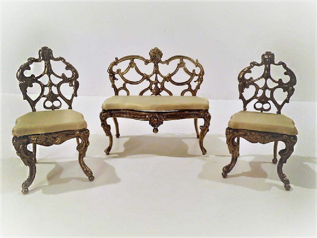 Antique miniature Bronze 3 pieces Salon Suite