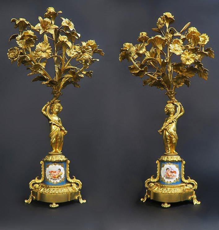 Monumental French Sevres/Bronze Clock Set - 3