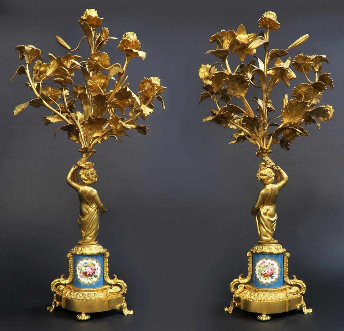 Monumental French Sevres/Bronze Clock Set - 4