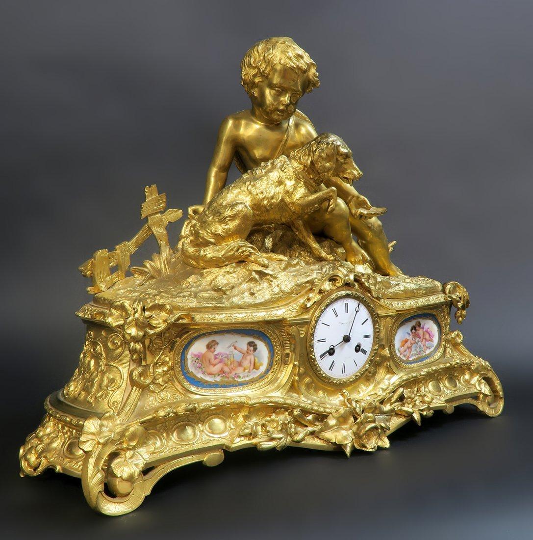 Monumental French Sevres/Bronze Clock Set - 5