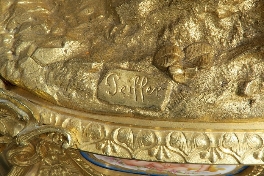 Monumental French Sevres/Bronze Clock Set - 8