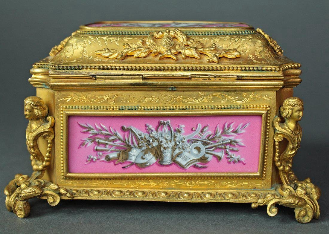 19th C. French Bronze & Sevres Porcelain Jewelry Box - 4