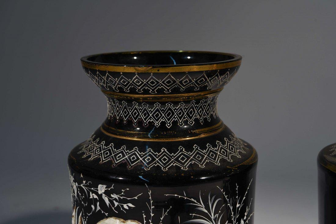 LARGE PAIR OF 19th C. ENAMEL ON GLASS VASES - 4