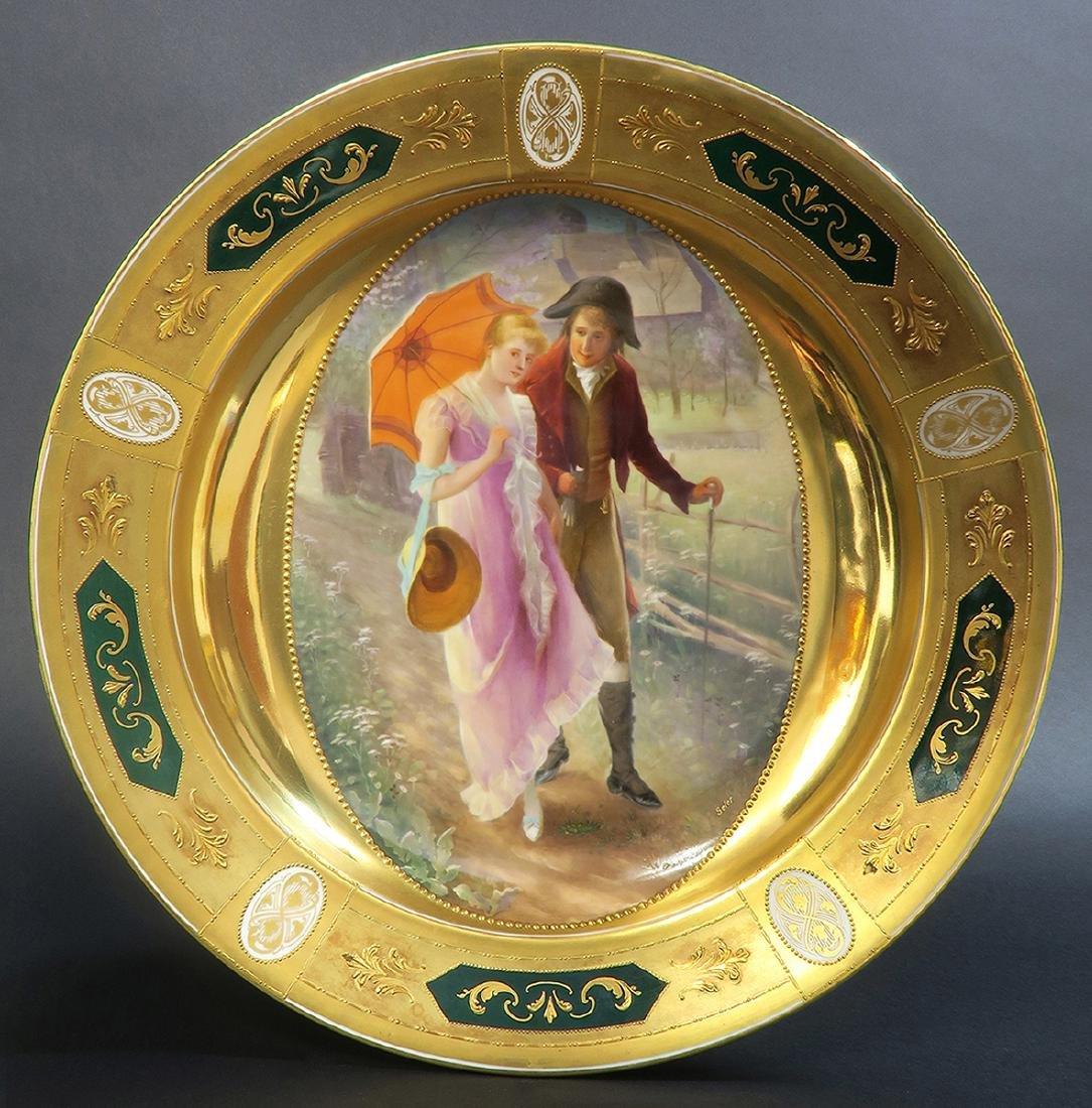 Large Pair Royal Vienna Porcelain Plates - 2