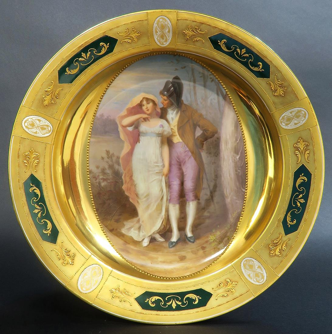 Large Pair Royal Vienna Porcelain Plates - 4