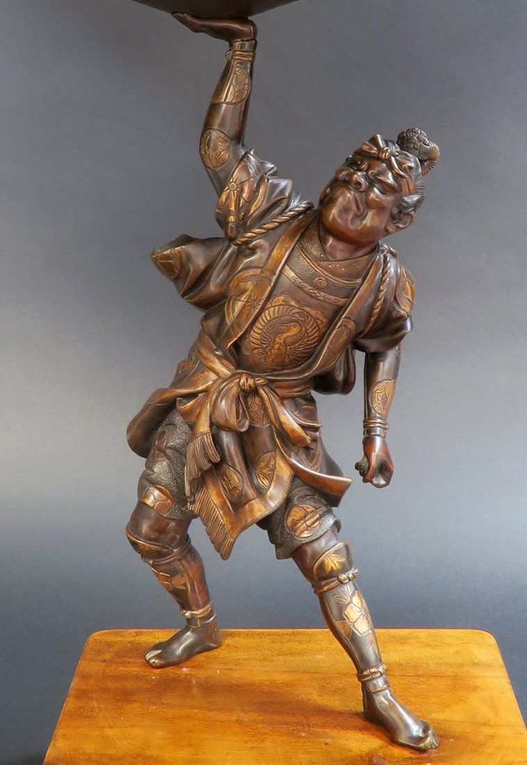 Large Japanese Bronze Figural Centerpiece, 19th C. - 2