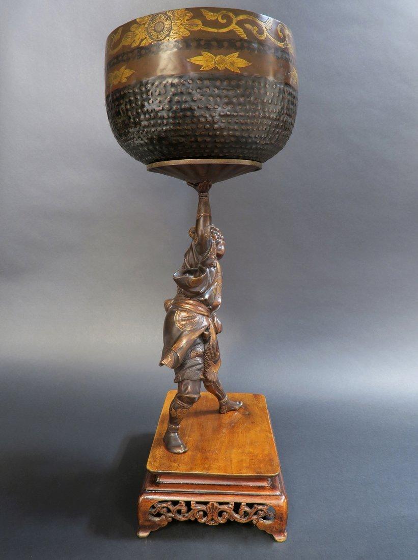 Large Japanese Bronze Figural Centerpiece, 19th C. - 3