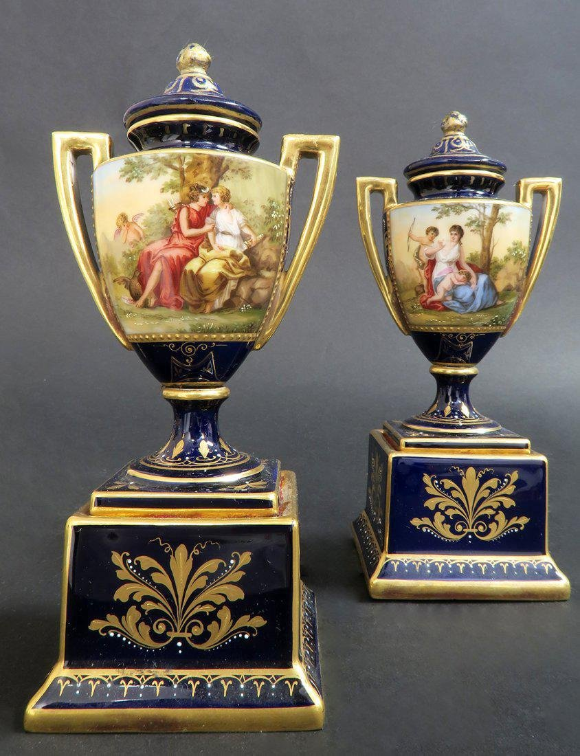 Pair of Hand Painted Royal Vienna Vases