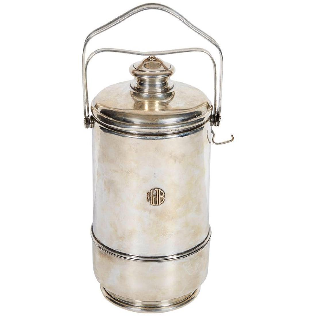 """""""Cartier"""" French Sterling Silver & Gold Ice Bucket"""