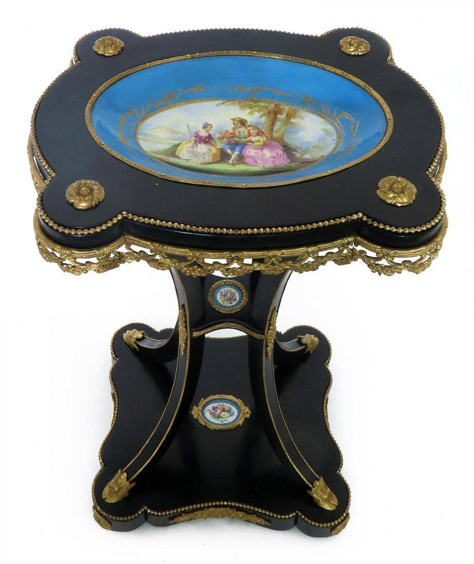 French Bronze & Sevres Porcelain Side Table