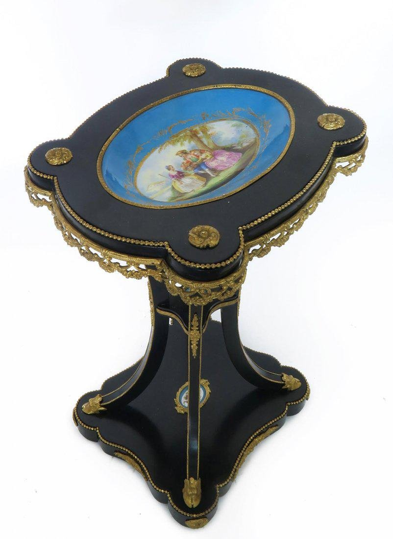 French Bronze & Sevres Porcelain Side Table - 2