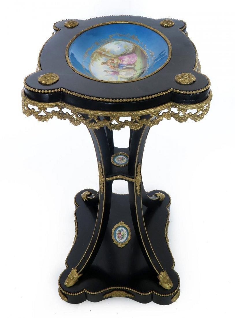 French Bronze & Sevres Porcelain Side Table - 3