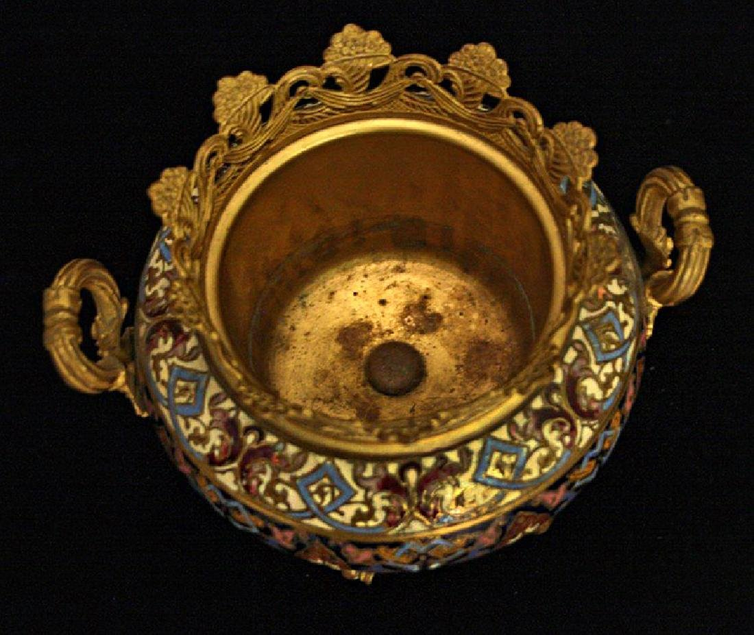 19th C. French Dore Bronze & Champleve Double Urn - 2
