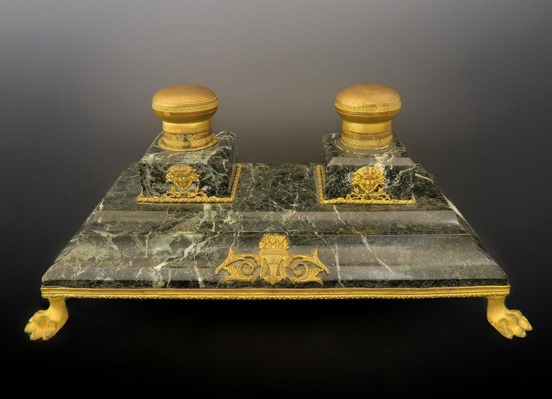 19th C. Large French Marble & Bronze Inkwell