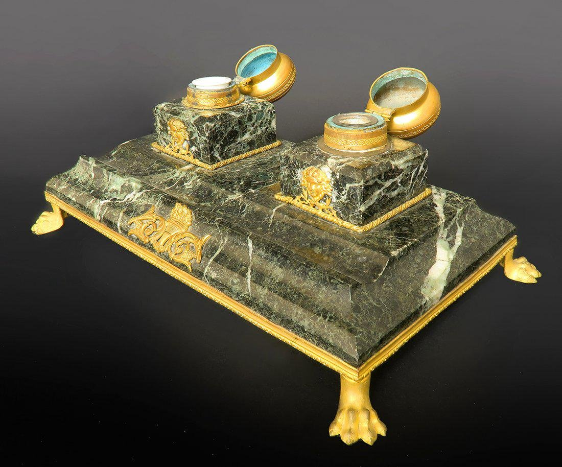19th C. Large French Marble & Bronze Inkwell - 2