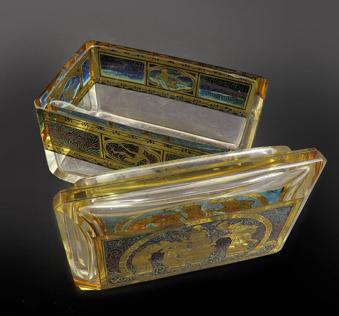19th C. Bohemian Enameled Crystal Jewelry Box - 2