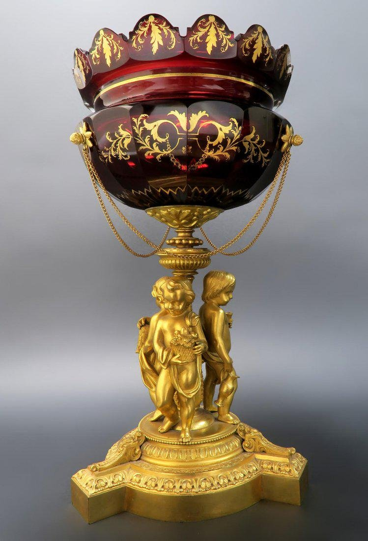 French Figural Bronze & Baccarat Crystal Centerpiece - 3